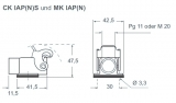 "Angled bulkhead housings-single lever-PG11-thermo-""21.21"""