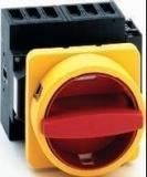 Lasttrennschalter 63A, 3-polig, Vierlochbefestigung, N-Vorhängeschlosssperre gelb/rot